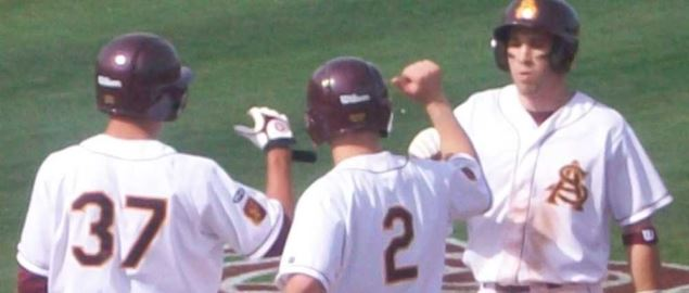 Arizona State player Jason Kipnis crosses home plate on 3-run line drive.