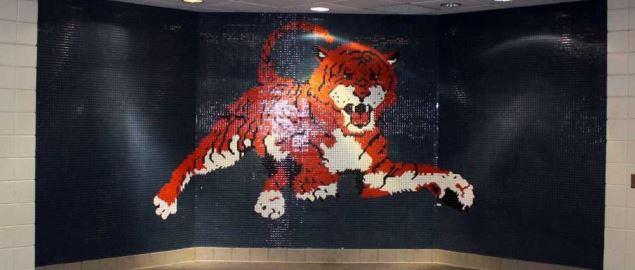 Portrait of the Auburn Tigers mascot made entirely from tiles.