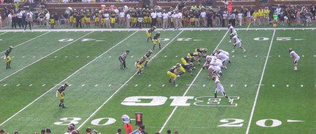 Central Michigan on offense vs Michigan in 2013 away game.
