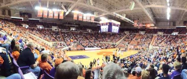 Home game action at Clemson University's Littlejohn Coliseum vs Boston College.