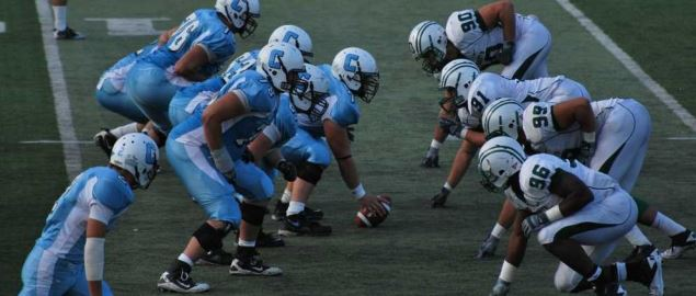 Dartmouth Big Green on defense vs Columbia Lions in 2010 regular season game.