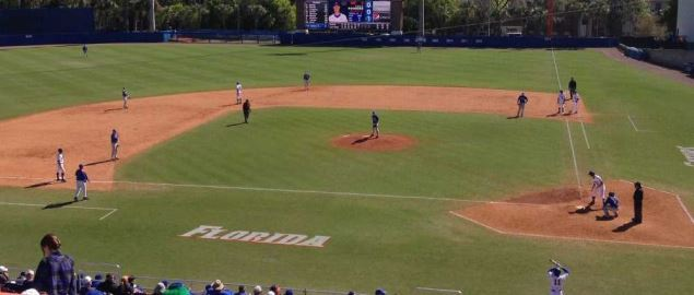The Florida Gators playing a game against the Duke Blue Devils.