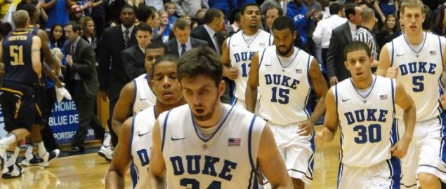 Duke players going to the locker room for halftime during 2010 regular season.