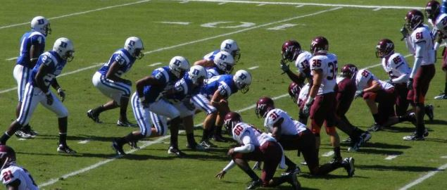 Duke on offense against Virginia Tech in 2007 regular season game.