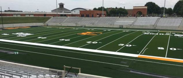 View from the home side of the ETSU Football Stadium.