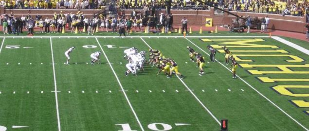 Eastern Michigan on offense vs Michigan in 2013 away game.