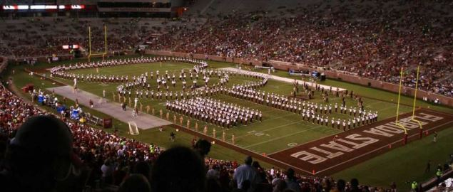 Florida State's Marching Chiefs halftime show at Doak Campbell Stadium in 2008.