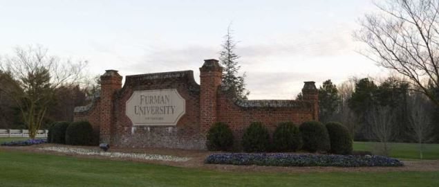 Furman University entrance sign.