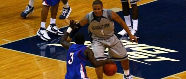 Chris Wright playing for the Georgetown Hoyas against American University Eagles.