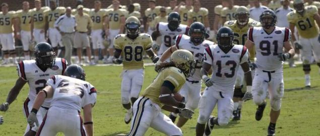 Rashaun Grant for Georgia Tech carries the football against Samford.