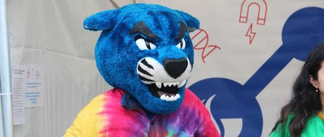 The Georgia State Panthers mascot, Pounce at the Atlanta Science Festival.