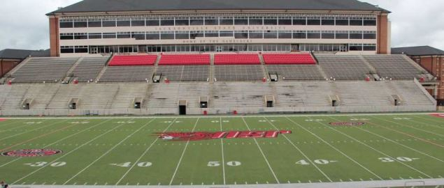 Side view of the Jacksonville State Stadium.