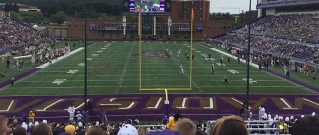 James Madison Dukes hosting a 2016 game at Bridgeforth Stadium.