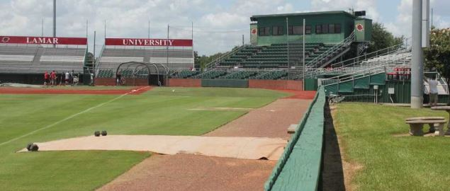 Lamar Cardinals Vincent-Beck Stadium looking from the left field foul pole.