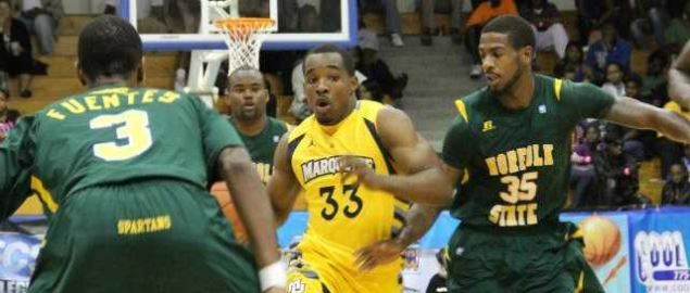 Marquette's Derrick Wilson drives against Norfolk State's Jamel Fuentes.