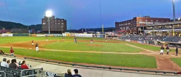 Night game at Appalachian Power Park, where the Marshall baseball team plays.