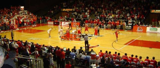 Just before tip off of Miami Redhawks hosting the Dayton Flyers.