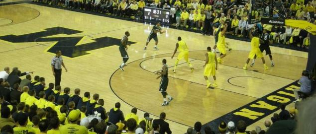 In-game action during the Michigan State Spartans vs. Michigan Wolverines 2013 game.