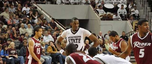 Jarvis Varnado of Mississippi State and Rider basketball players in 2009.