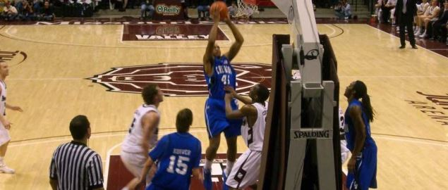 Missouri State on defense vs Crieghton in their home JQH Arena.