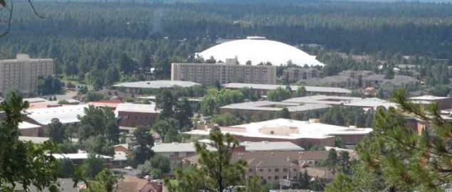 The Skydome on the campus of Northern Arizona University viewed from Lowell Observatory.