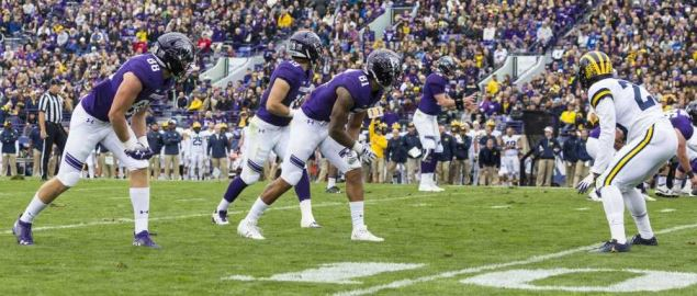 Northwestern Wildcats on offense vs Michigan 09/29/18.