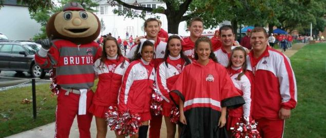 Ohio State Buckeyes mascot and cheerleaders.