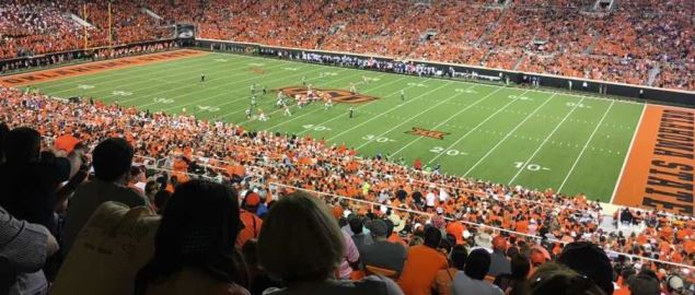 Boone Pickens Stadium in the 2017 season opener against the Tulsa Golden Hurricanes.