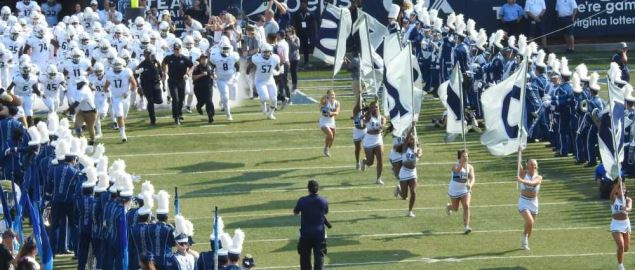 The Old Dominion Monarchs take the field to face Virginia Tech in 2018 game.