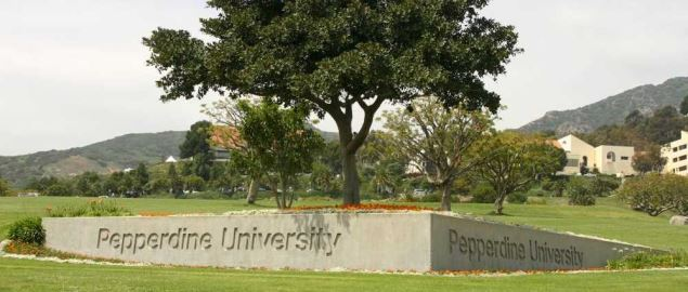 Pepperdine Universit, the Malibu Canyon entrance sign, in Malibu, California.