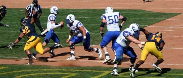 Presbyterian Blue Hose on offense vs Cal in 2011 away game at AT&T Park.