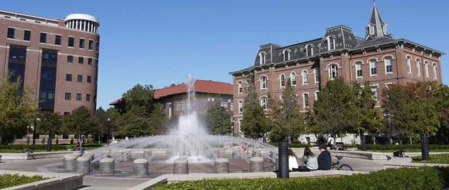 Purdue University Loeb Fountain, also known as the Liberal Arts fountain.