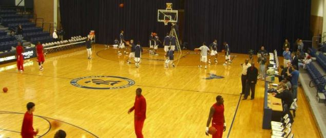 Rice University's basketball court during warm ups.