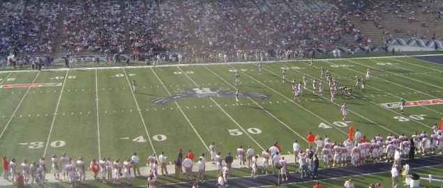 Rice taking on SMU in a late November home game at Rice Stadium in 2006.