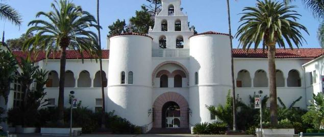 Spanish Colonial Revival style architecture on the San Diego State University campus.