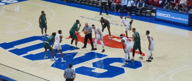 Tip off of the Tulane Green Wave vs. Southern Methodist Mustangs 2018 game.