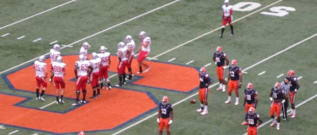 Stony Brook Seawolves huddling on offense at Carrier Dome in 2012 home game.