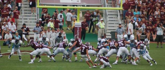 Texas A&M's Matt Szymanski kicking an extra point vs Citadel in 2006 home game.