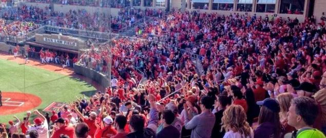 The crowd during a game at Dan Law Field on campus of Texas Tech University.