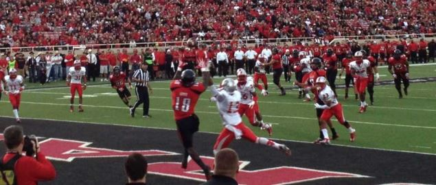 Texas Tech's Eric Ward catching a TD from QB Seth Doege vs New Mexico in 2012 home game.