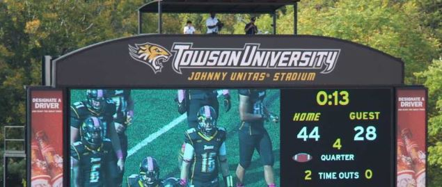 Video scoreboard at Johnny Unitas Stadium, home of the Towson Tigers.