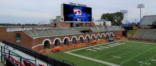 View of north endzone at the Troy Football Veterans Stadium.
