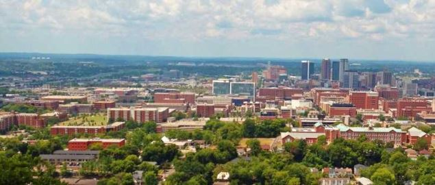 A view of Birmingham, especially UAB, from Vulcan Park.
