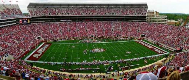Bryant-Denny Stadium at the University of Alabama during the 2009 A-day game.