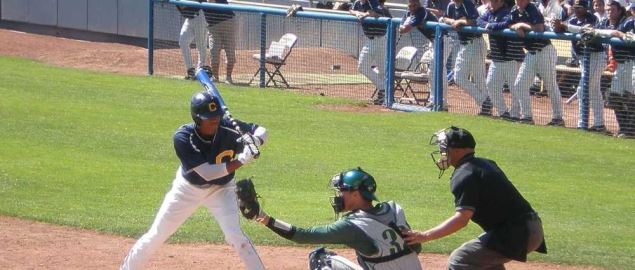 Cal batting during a home baseball game against the Oregon Ducks at Evans Diamond.