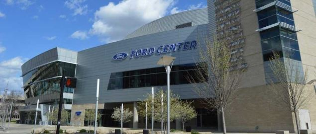 Multi-purpose Ford Center arena that's home to the Evansville Purple Aces basketball team.