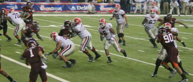 Georgia running at the goal line vs Virginia Tech in the 2006 Chick-fil-A Bowl.