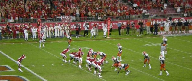 Houston Cougars on offense near their goal line at a packed home game vs UTEP in 2010.