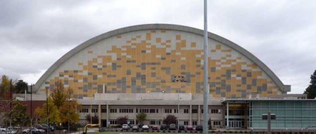 The eastern side of the Kibbie Dome, the main arena of the University of Idaho.