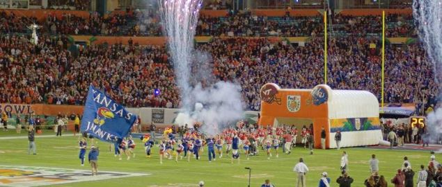 Kansas Jayhawks take the field for the 2008 Orange Bowl vs Virginia Tech.